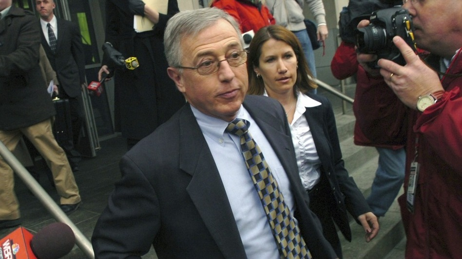 Former Judge Mark Ciavarella leaves the federal courthouse in Scranton, Pa., in 2009. Ciavarella was convicted last year of racketeering and conspiracy for taking nearly a million dollars from the developer of two for-profit prisons.