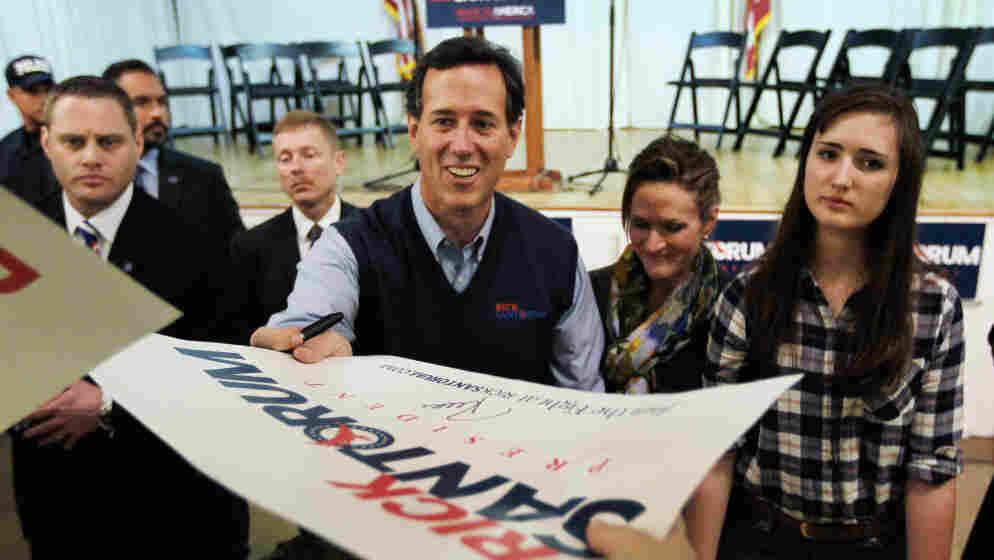 Rick Santorum campaigns Monday in Westerville, Ohio.