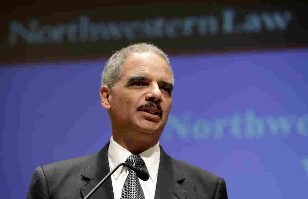 U.S. Attorney General Eric Holder gives a speech at Northwestern Law School on Monday in Chicago.