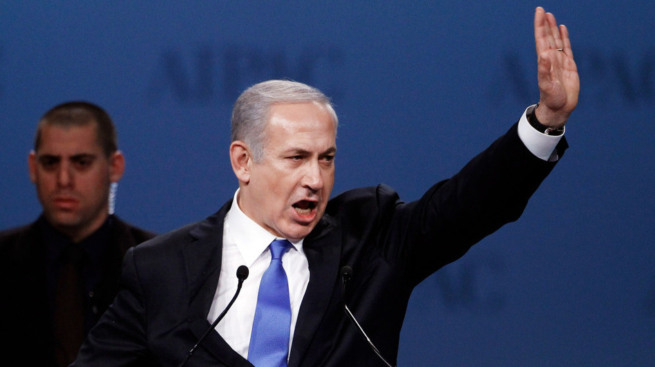 """Israeli Prime Minister Benjamin Netanyahu addresses the American Israel Public Affairs Committee's annual policy conference on Monday in Washington, D.C. He said he would never let his """"people live in the shadow of annihilation."""""""