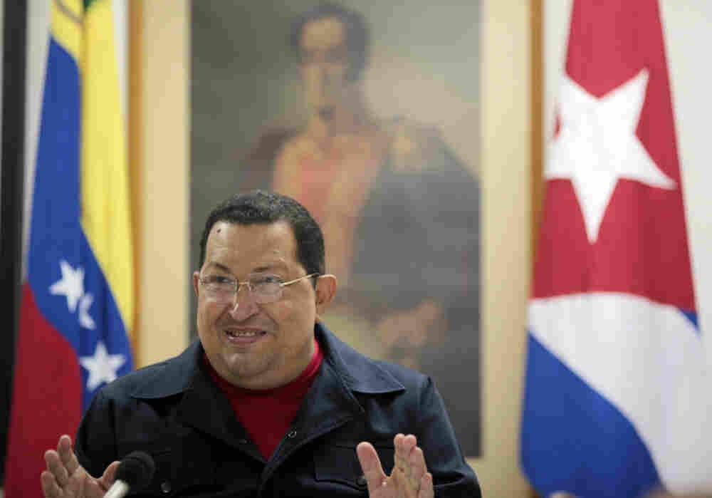 Venezuelan President Hugo Chavez speaking during a TV program in Havana on March 4.