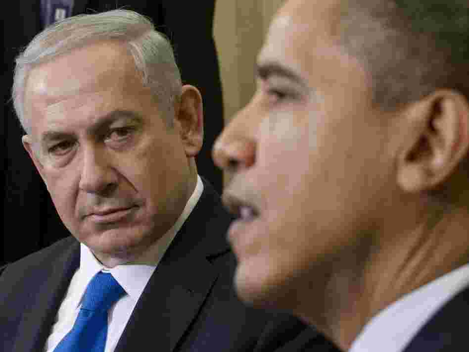 Israeli Prime Minister Benjamin Netanyahu looked on as President Obama spoke this morning in the Oval Office of the White House.