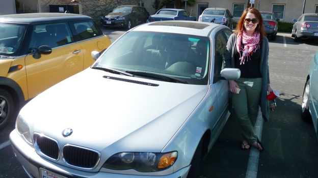 Stanford graduate student Katie Hagey rents her 2002 BMW to strangers through the peer-to-peer car sharing service Wheelz. (Charla Bear for NPR)