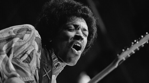 Jimi Hendrix during his performance at the Isle of Wight Festival, August 1970.