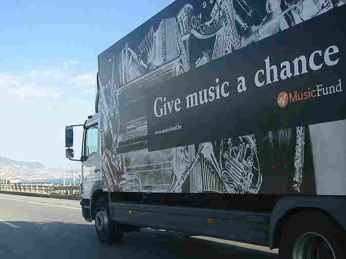 The Music Fund truck delivers musical instruments to developing countries and conflict areas around the world.