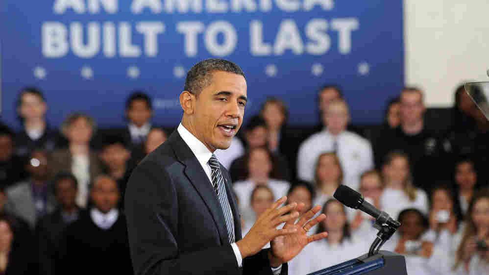 President Barack Obama speaks to students at Northern Virginia Community College in Annandale, Virginia, on February 13, 2012. Obama's campaign is ramping up efforts in Virginia in what is sure to be a battleground state in the general election.