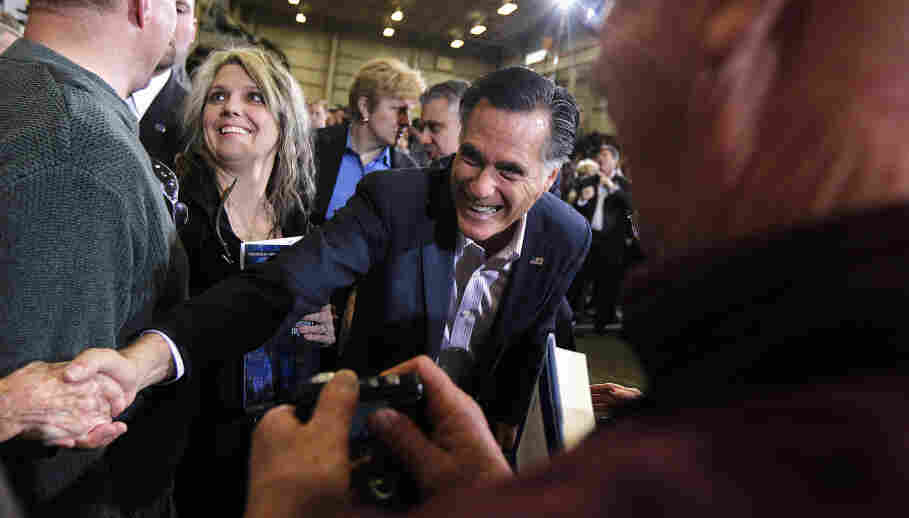 Republican presidential candidate Mitt Romney greets supporters at a town hall meeting at Taylor Winfield in Youngstown, Ohio, on Monday.
