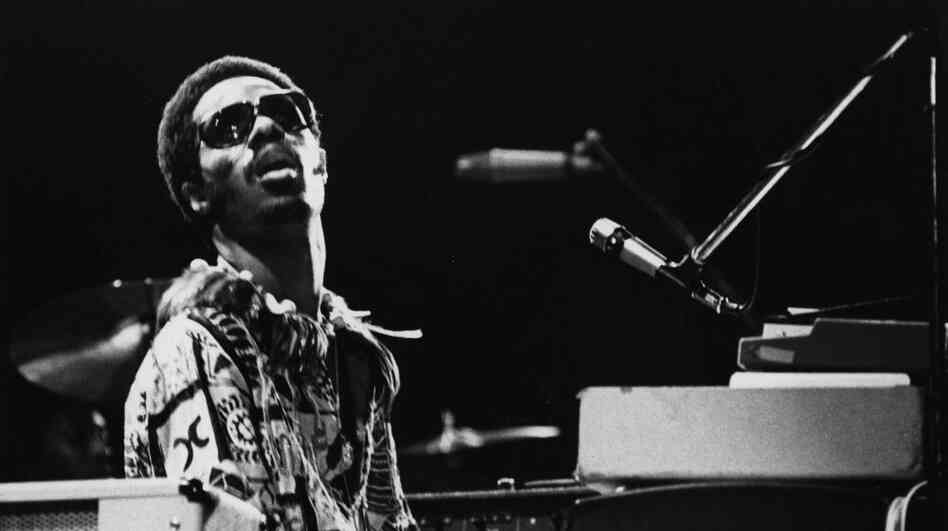 Stevie Wonder at his keyboard during a concert in 1973.