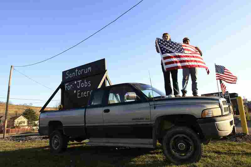 Rick Santorum supporters stand outside a primary party in Steubenville, Ohio.