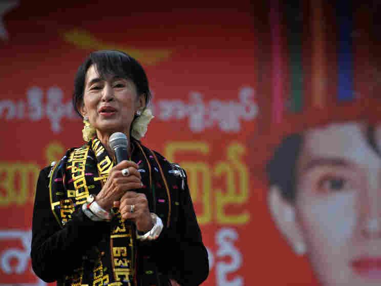 Pro-democracy leader Aung San Suu Kyi addresses supporters in Myitkyina on Feb. 24.