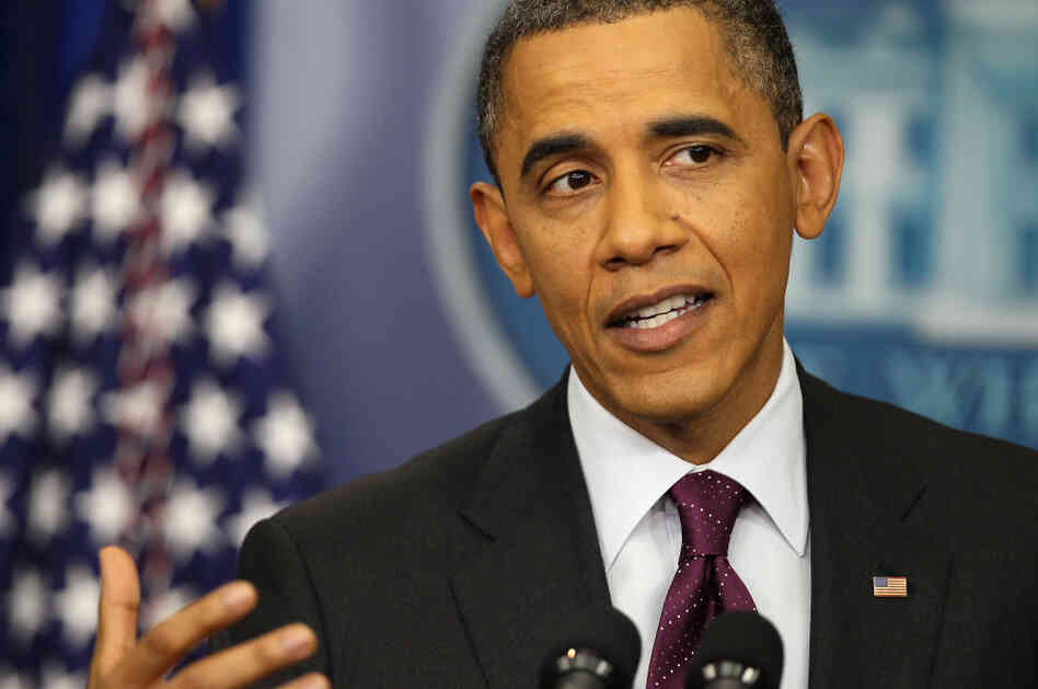 President Obama speaks during a news conference in the Brady Press Briefing Room of the White House on Tuesday.