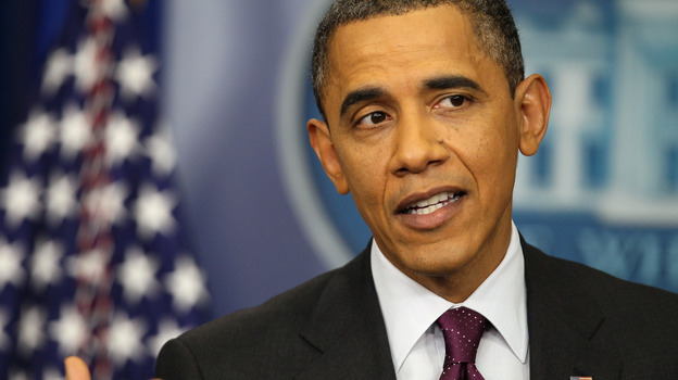President Obama speaks during a news conference in the Brady Press Briefing Room of the White House on Tuesday. (Getty Images)
