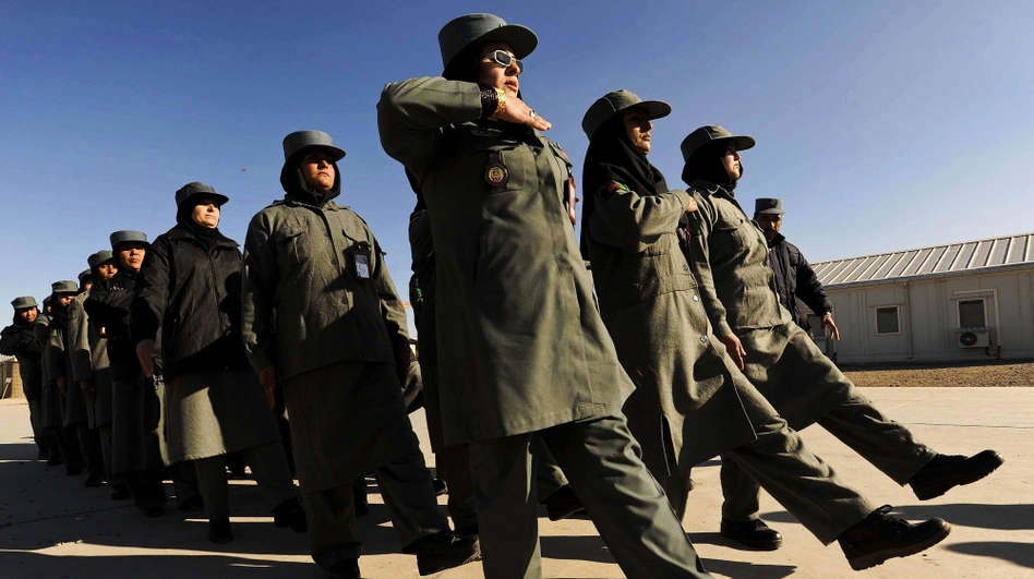 Afghan female police officers march at the Police Training Center on the outskirts of Herat province in western Afghanistan on Dec. 8.  (AFP/Getty Images)