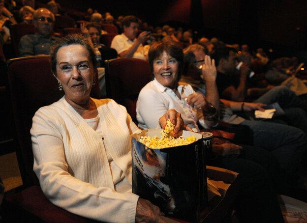 Patrons at AMC Burbank 16 theater in Burbank, Calif.