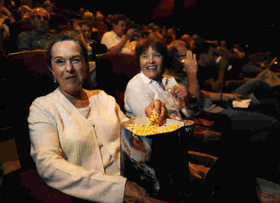 Patrons at AMC Burbank 16 theater in Burbank, Calif.