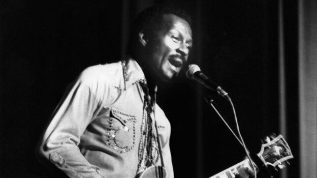 Chuck Berry performing at the Birmingham Odeon in England.