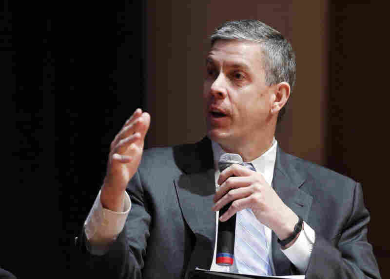Secretary of Education Arne Duncan speaks during a forum on education at American University in Washington, Friday, March 2.