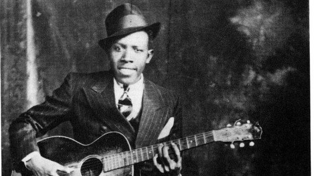 One of two existing photographs of Robert Johnson.