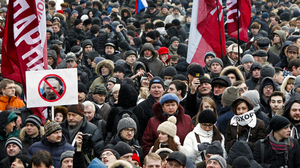 An estimated 15,000 protesters in Moscow took part in Monday's demonstration against Vladimir's Putin's victory in the presidential election.