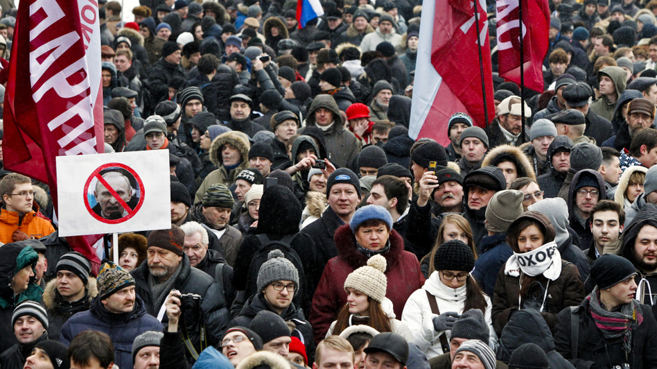 An estimated 15,000 protesters in Moscow took part in Monday's demonstration against Vladimir's Putin's victory in the presidential election. (AP)