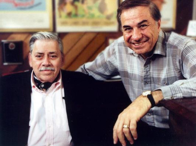 Robert Sherman (left) and his brother Richard in a documentary of their life and songs, <em>The Boys: The Sherman Brothers' Story</em>.