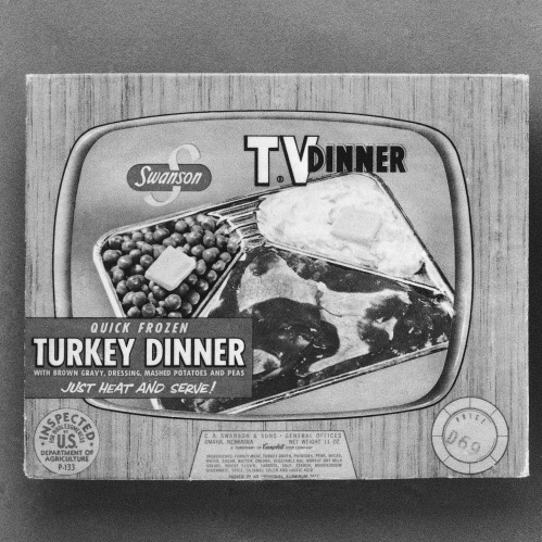 C.A. Swanson & Sons of Omaha, Neb., celebrates the 40th anniversary of the TV dinner, in 1994. Originally sold for 98 cents in 1954, in a package with a picture of a TV set with knobs, it became the first TV dinner -- which changed American culture so much that the original package is now in the Smithsonian.