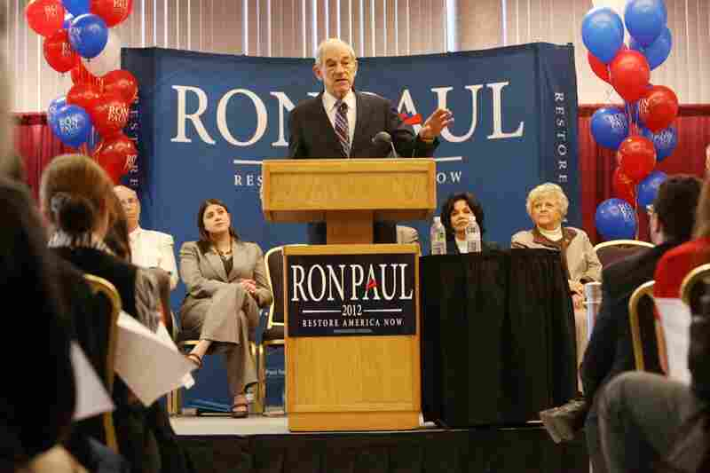 Ron Paul speaks to a crowd at the Nampa Civic Center in Nampa, Idaho. Paul is expected to do well in the Idaho primary.