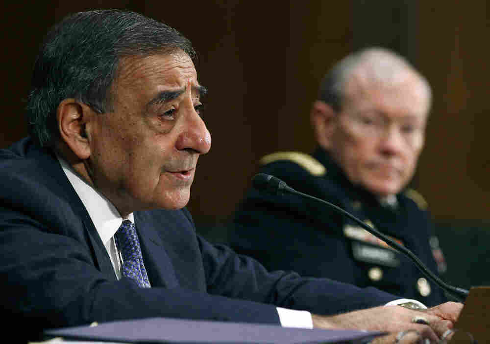 Defense Secretary Leon Panetta (L) and Chairman of the Joint Chiefs of Staff Gen. Martin Dempsey testify before the Senate Ar
