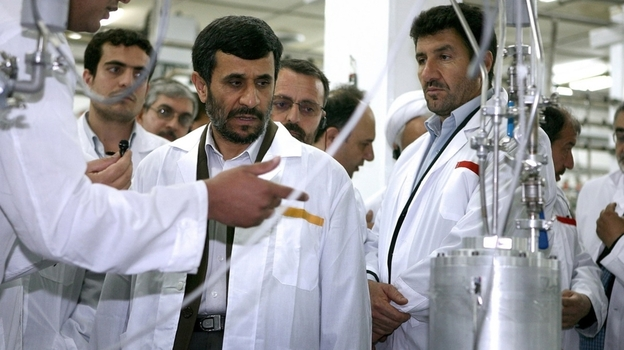 Iranian President Mahmoud Ahmadinejad visits the Natanz uranium enrichment facility in April 2008. Western governments suspect Iran is seeking nuclear weapons, a charge Tehran denies. How to handle the possible threat from a nuclear-armed Iran is a major foreign policy concern of the U.S. (AP)
