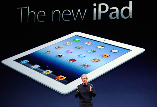 Apple CEO Tim Cook speaks during an Apple product launch event at Yerba Buena Center for the Arts in San Francisco, California, earlier today. In the first product release following the death of Steve Jobs, Apple Inc. introduced the third version of the iPad and an updated Apple TV.