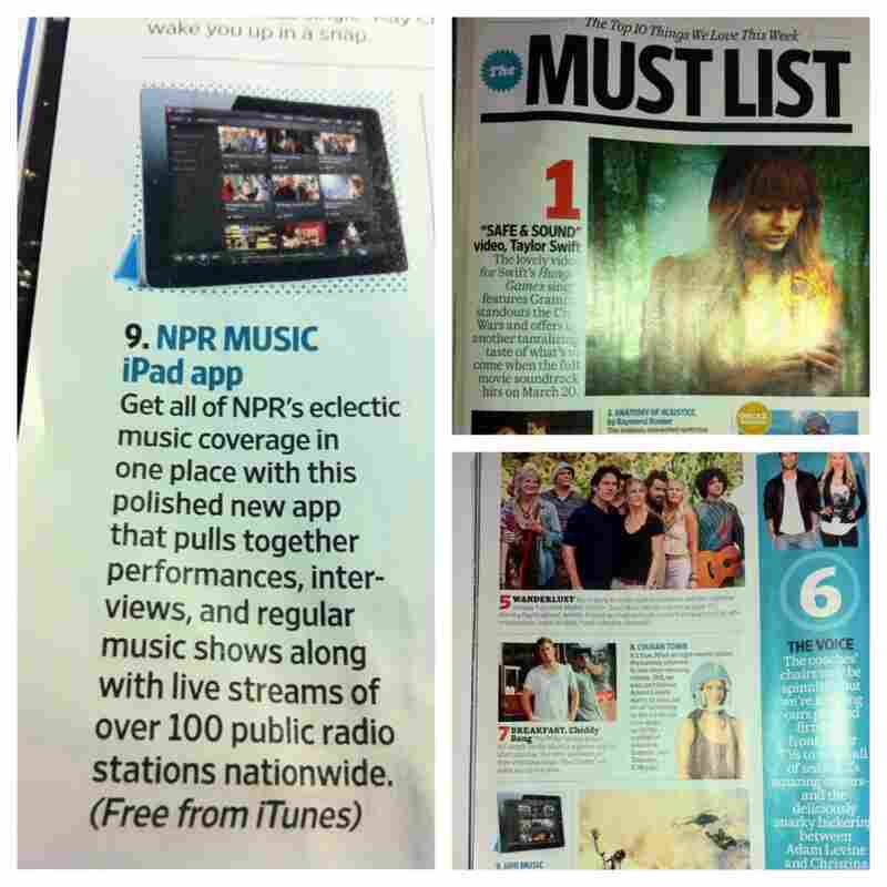 NPR Music iPad App featured in Entertainment Weekly's Must List.