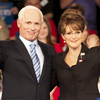 Ed Harris as John McCain and Julianne Moore as Sarah Palin in the HBO film Game Change.