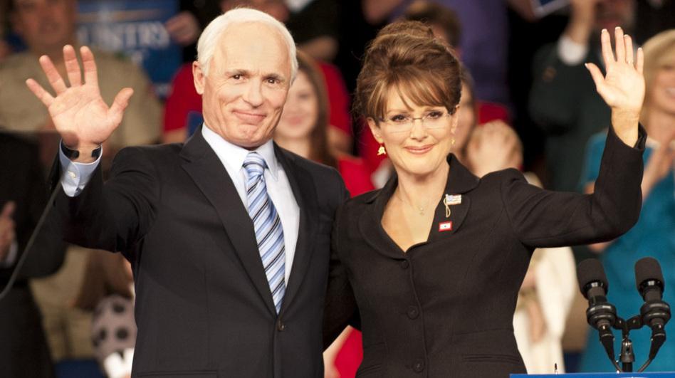 Ed Harris as John McCain and Julianne Moore as Sarah Palin in the HBO film <em>Game Change</em>.