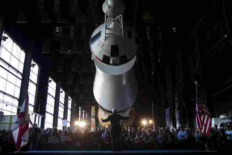 Former House Speaker Newt Gingrich speaks at the U.S. Space and Rocket Center, in Huntsville, Ala.