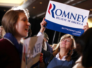 Romney supporters celebrate in Boston on Super Tuesday. Exit polls from Super Tuesday's GOP presidential contests suggest that front-runner Mitt Romney does best with women voters.