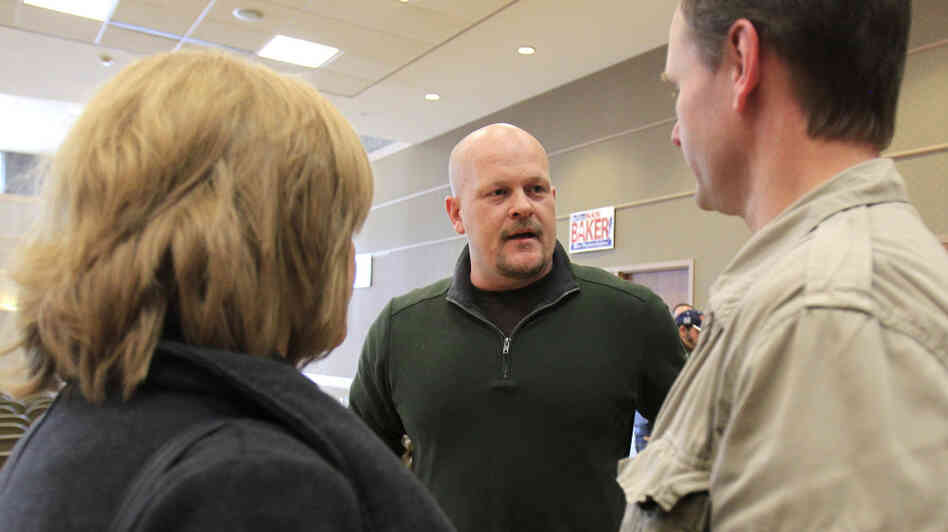 Republican congressional candidate Samuel Wurzelbacher, better known as Joe the Plumber, talks with supporters in February.