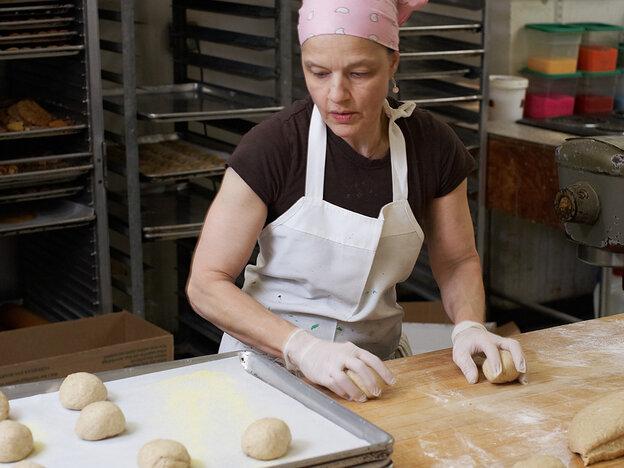 Margaret Palca in her bakery in Brooklyn, N.Y.