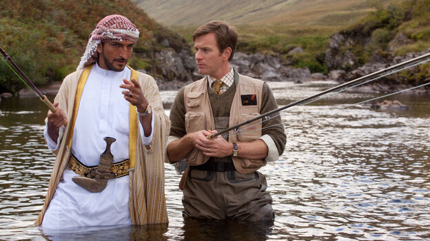All Wet? Sheikh Muhammed (Amr Waked) tries to assure skeptical Scottish fisheries expert Dr. Alfred Jones (Ewan McGregor) that his plan to bring salmon fishing to Yemen is viable.