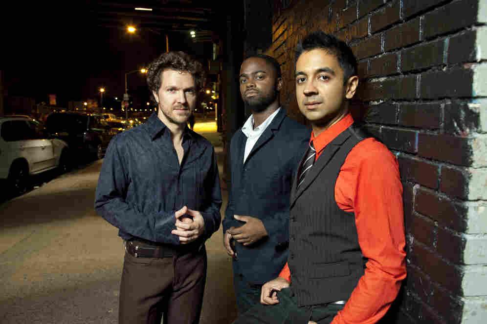 The Vijay Iyer Trio. L-R: Stephan Crump, Marcus Gilmore, Iyer.