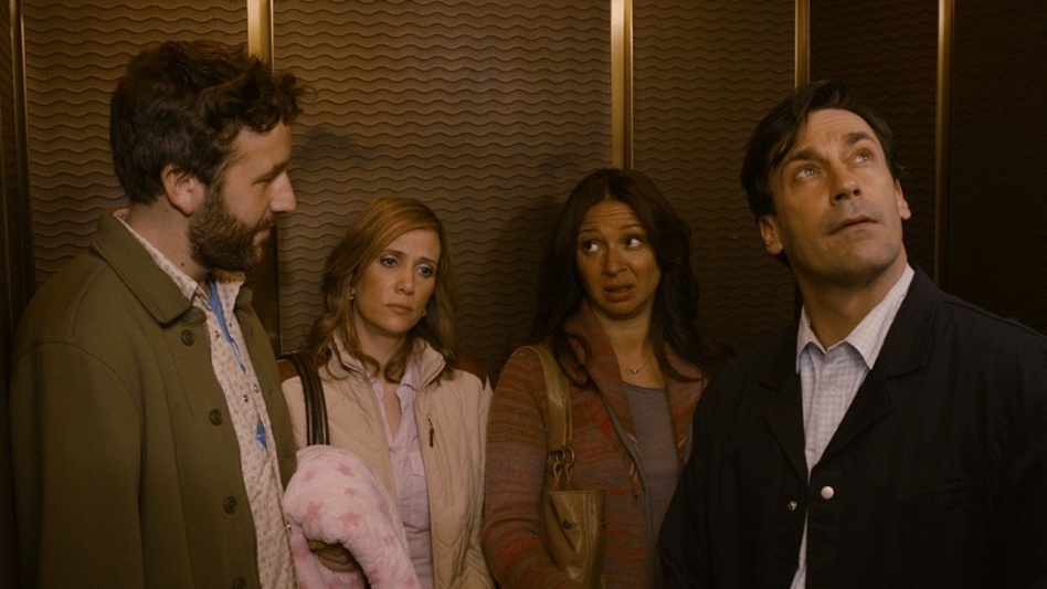 Chris O'Dowd, Kristen Wiig, Maya Rudolph and Jon Hamm play characters whose own relationships contrast with that of friends Julie (Jennifer Westfeldt) and Jason (Adam Scott) (Roadside Attractions)