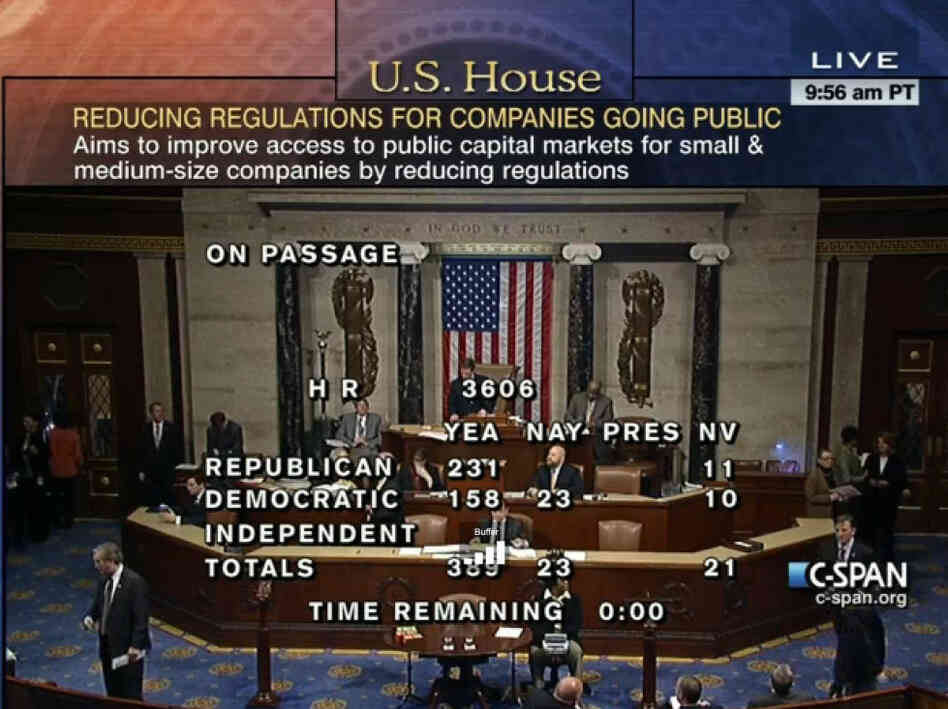 CSPAN screengrab of House JOBS Act vote.