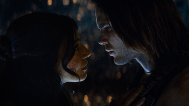 "Dejah Thoris (Lynn Collins), warrior and princess of the ""Red"" Martians, cozies up to earthling John Carter (Taylor Kitsch), a Civil War veteran who gains superhuman strength and agility when he's transported to Mars."
