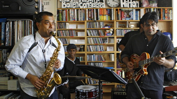 Rudesh Mahanthappa performs with his band at a Tiny Desk Concert on Feb. 1, 2012. (Emily Bogle/NPR)