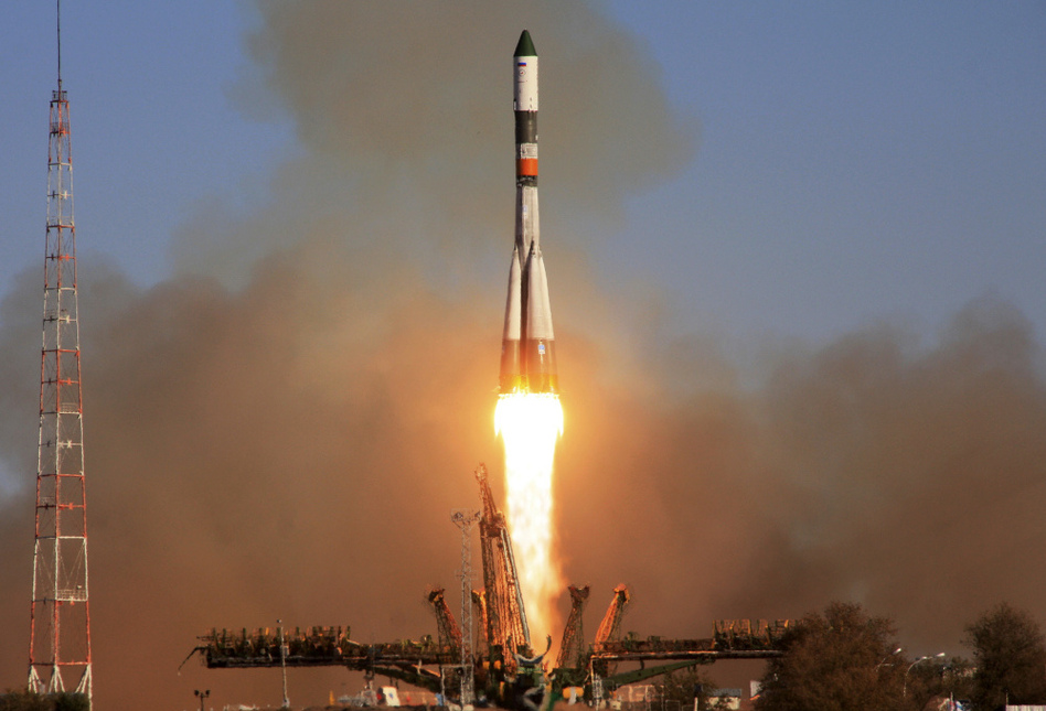 Russia's unmanned Progress space freighter, headed for the International Space Station, blasts off from the Baikonur Cosmodrome in Kazakhstan, Oct. 30, 2011. A string of mission failures has raised concerns over the reliability of Russia's space program.