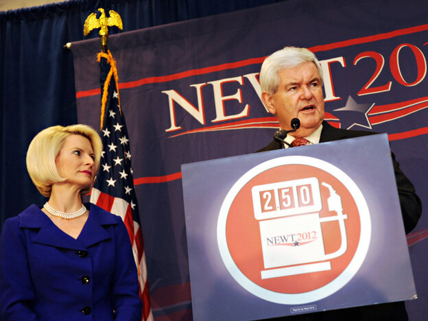 Former Speaker of the House Newt Gingrich speaks at a rally with his wife, Callista, on Thursday in Jackson, Miss.