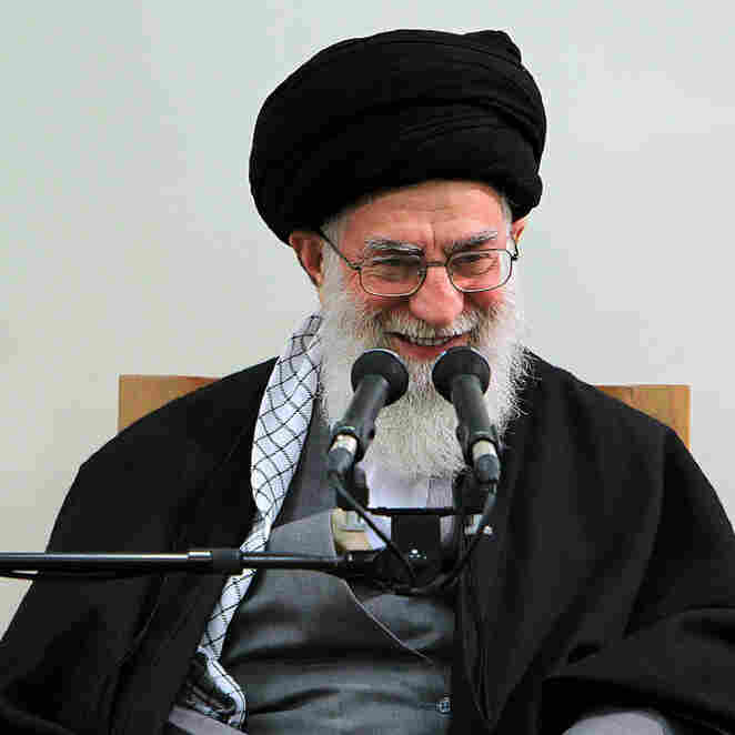 Iran's supreme leader, Ayatollah Ali Khamenei, addresses a meeting in Tehran on Thursday. Khamenei is a staunch defender of Iran's nuclear program.