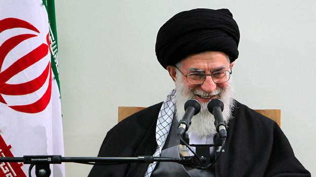 Iran's supreme leader, Ayatollah Ali Khamenei, addresses a meeting in Tehran on Thursday. Khamenei is a staunch defender of Iran's nuclear program.  (AFP/Getty Images)