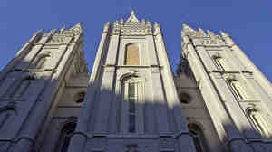 Sunrise hits the Mormon church's temple in Salt Lake City.