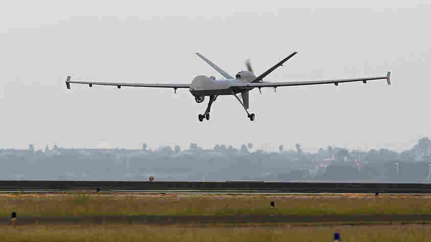 A Predator B unmanned aircraft lands after a mission at the Naval Air Station last November in Corpus Christi, Texas.