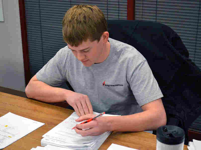"""""""I feel very lucky,"""" says Colorado School of Mines student Chris Enger, who has a job as a petroleum engineer waiting on him in Texas."""
